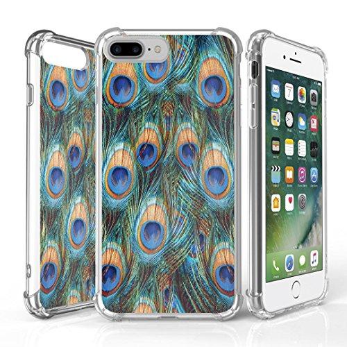 iPhone 7 Plus Case, DuroCase AquaFlex 4 Corner Shockproof TPU Bumper w/ Hard Plastic Back Shield 2in1 Hybrid Case (Clear) For Apple iPhone 7Plus - (Peacock)](Iphone 4 Case Peacock)