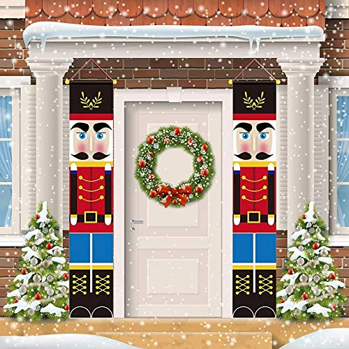 WISREMT Nutcracker Christmas Decorations - Outdoor Xmas Decor - Life Size Soldier Model Christmas Nutcracker Banners for Front Door Porch Garden Indoor Exterior Party