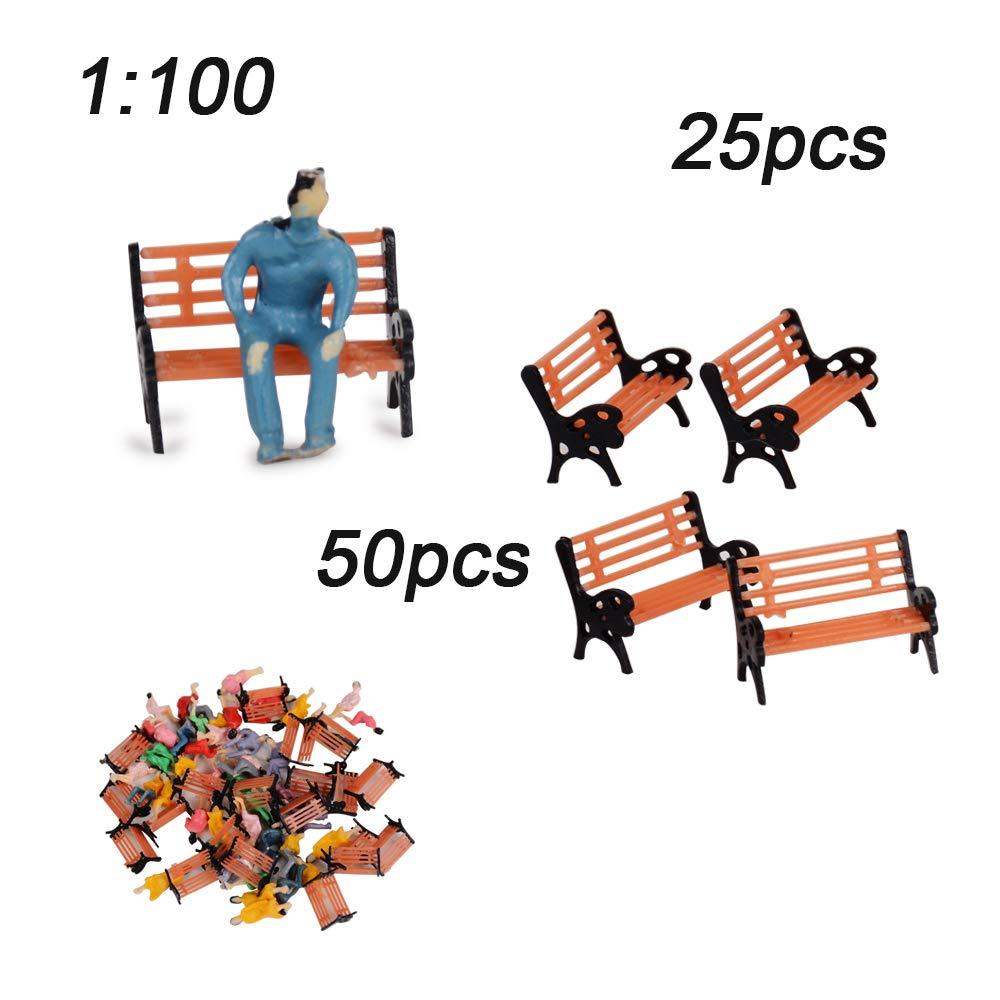 MEJOSER People Figures//Bench Models//Lamppost Lights Models for HO Scales Layout Accs