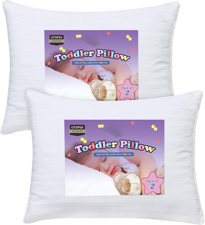 Utopia Bedding Almohada de bebé (paquete de 2) - Almohada para niños pequeños con cubierta de algodón 100% - 33 cm x 45 cm Almohada de viaje para niños