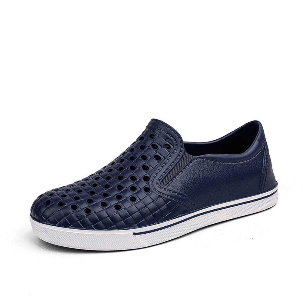 Sunny&Baby Sandalias de la Manera de los Hombres Pequeño Hueco Vamp Flat Heel Slip On Leisure Beach Shoes Antideslizante (Color : Azul, Tamaño : 45 EU) 45 EU|Azul