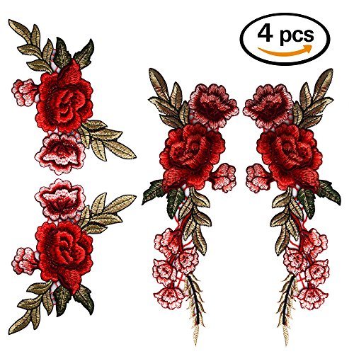 Coopay 4 Pieces Embroidery Rose Flower Lace Fabric Ribbon Sew On Patch Collar Bust Dress Bag Applique Polyester Roses