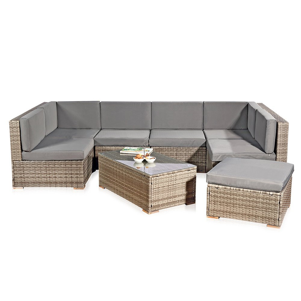 Amazon.de: Melko® XXL Gartenset, Poly Rattan, Lounge Sofa-Garnitur ...