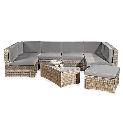 amazon de melko xxl gartenset poly rattan lounge sofa garnitur mit glastisch inklusive kissen mehrteilig grau