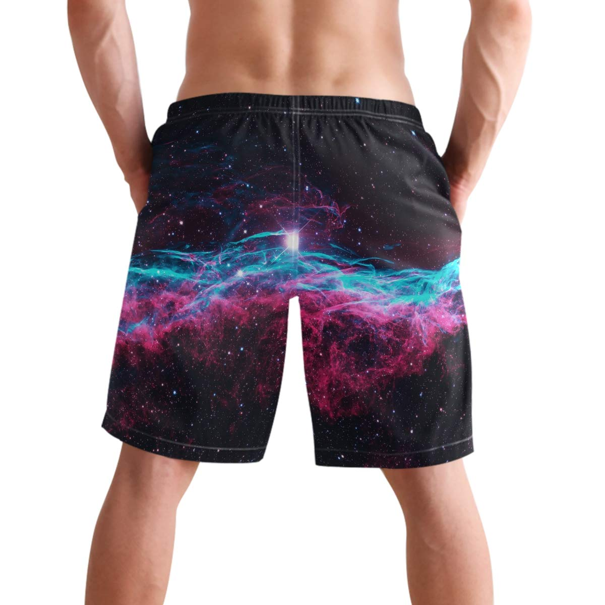 visesunny Magic Galaxy Cloud Mens Beach Shorts Summer Swim Trunks Sports Running Board Shorts with Mesh Lining