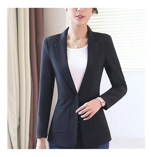 cea43f12acc Casual Blazer Spring Temperament Formal Long Sleeve Slim Women Jacket Black  S