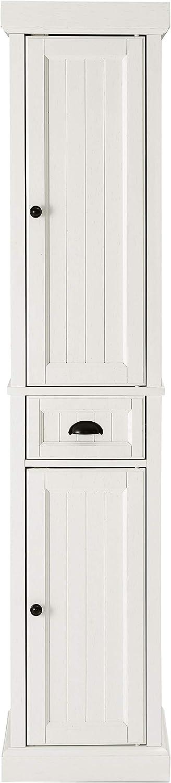 Crosley Furniture Seaside Tall Linen Cabinet, Distressed White
