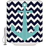 CHARMHOME Nautical Anchor Signer Chevron Wave Decorative Bathing Cover Waterproof Polyester Fabric Shower Curtain