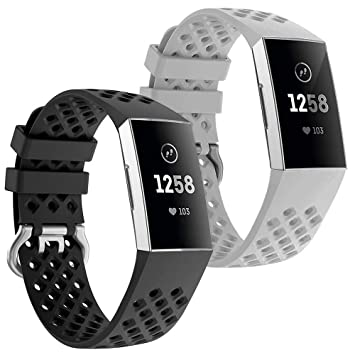 NiceCo 2-Pack Sport Bands Compatible with Fitbit Charge 3 Bands Charge 3 SE  Fitness Tracker, Breathable Holes Silicone Smart Watch Strap Accessories