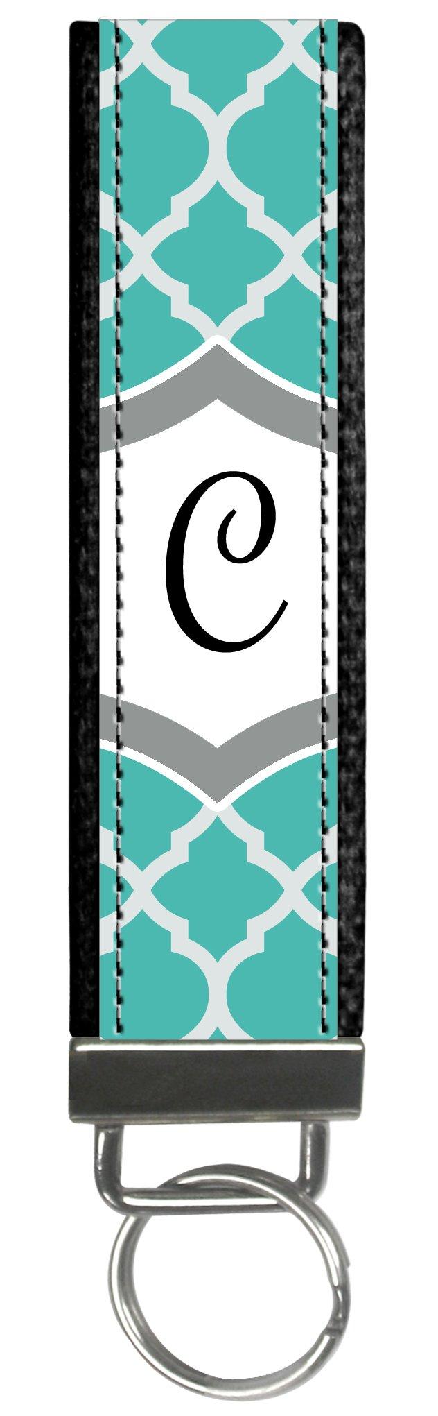 Snaptotes Teal Moroccan Design Monogram Wristlet Keyfob Keychain,Letter C