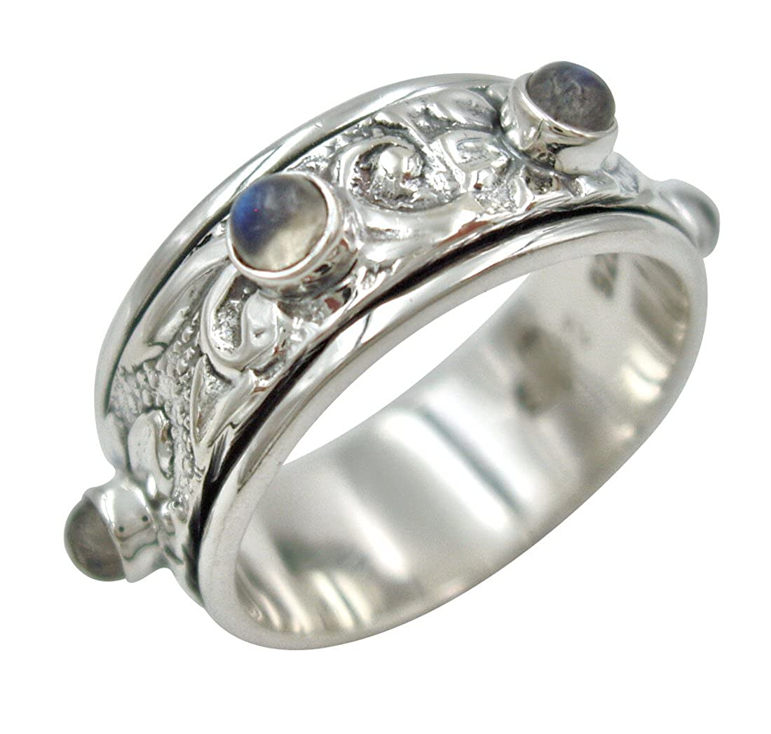 "Energy Stone ""Goddess"" Moonstone Meditation Spinner Ring (Style# SR50)"