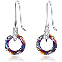 925 Sterling Silver Circle Earrings for Women with Swarovski Crystal Hook Dangle Earrings Hypoallergenic Jewelry for Mom