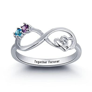 ca348276d1 XXI0c2sd2s Personalized Infinite Love Promise Ring 925 Sterling Silver  Infinity Love Name Ring With Birthstones (