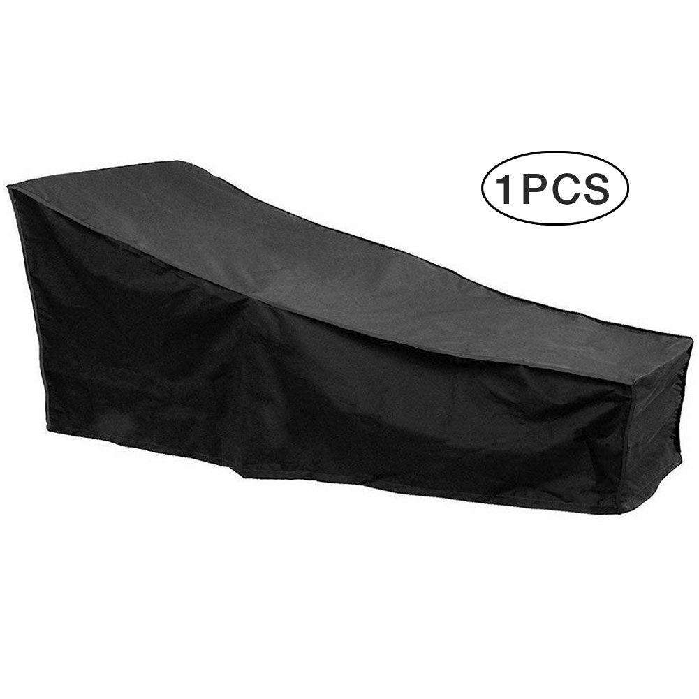 Uniuooi Sun Lounger Cover Waterproof Black, Outdoor Garden Sunbed Cover Patio Furniture Cover with Easy Carry Pouch, Dust-proof Foldable Chair Cover, 823116 inches