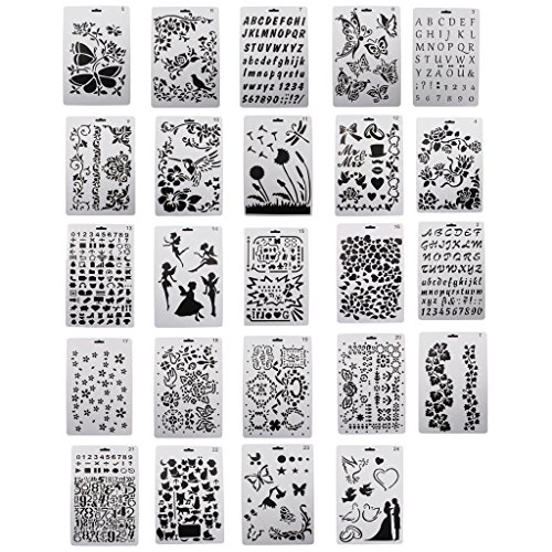 Price comparison product image YWPANDORA Drawing Painting Stencils Scale Template sets Graphics Stencils for Children Creation Scrapbooking DIY Albums Accessories Card and Craft Projects Bullet Journal Template Set of 24