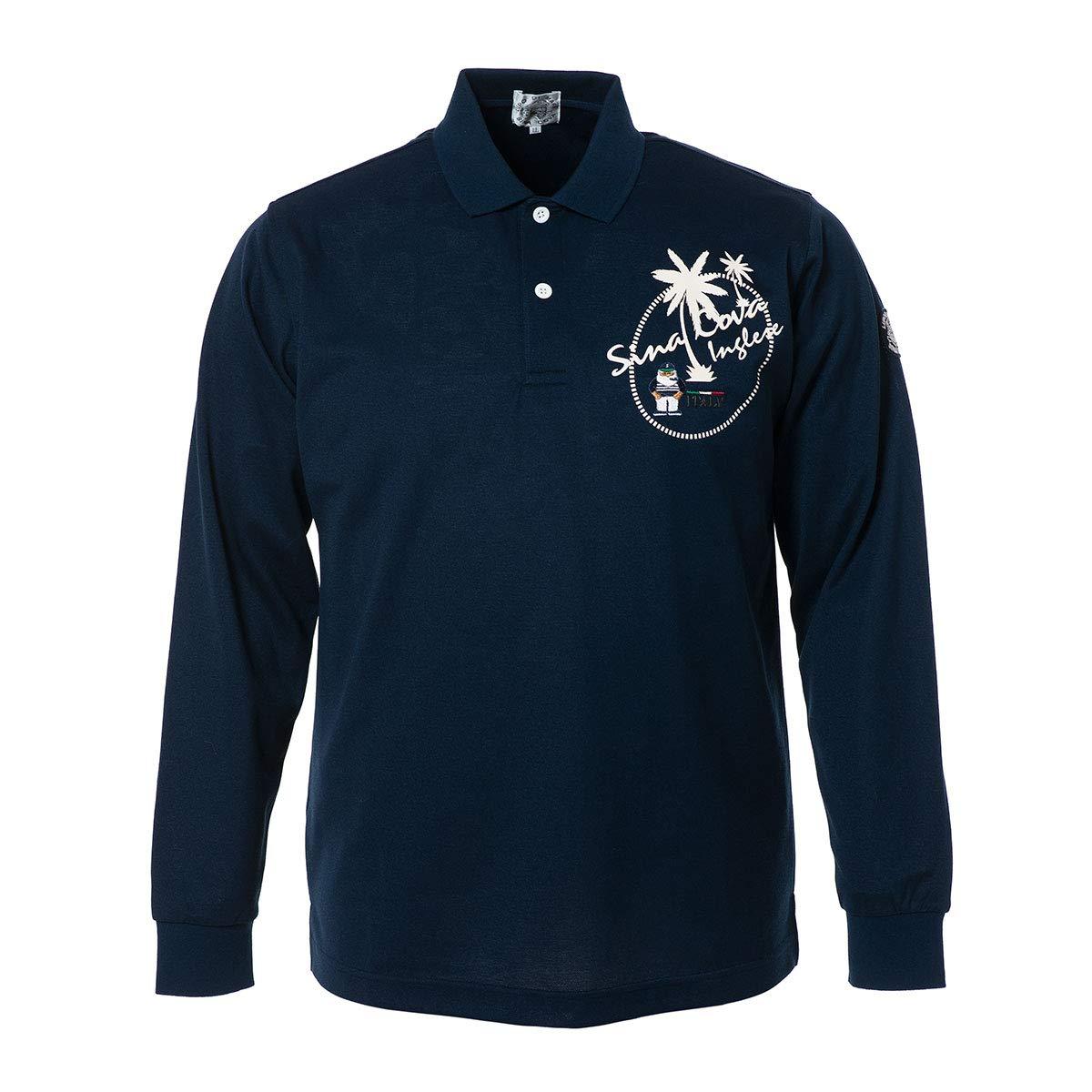 (シナコバ) SINA COVA 長袖ポロシャツ スポーツポロシャツ ポロシャツ カットソー 綿×ポリエステル スペースマスター 吸汗速乾 UVカット メンズ マリンウェア ゴルフウェア 19150020 LL ネイビー B07P5BWV5Q