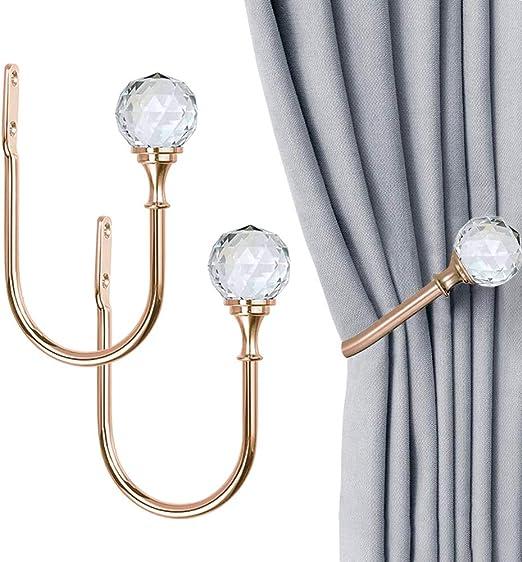 Coolnice 1 Pack Decorative Curtain Drapery Holdbacks Wall Mounted Curtain Tieback U Shape Curtain Tiebacks Hooks Crystal Hooks with Screw for Home Office-Gold