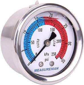 "Measureman 2"" Dial Size, Liquid Filled Pool Filter Pressure Gauge, 304 Stainless Steel Case, 0-35psi/250kpa,1/4"" NPT Center Back Mount"
