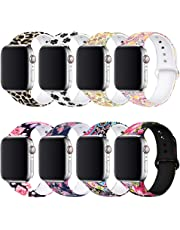 BMBEAR Floral Bands Compatible with Apple Watch Band 38mm 40mm 42mm 44mm Soft Silicone Fadeless Pattern Printed Replacement Sport Band for iWacth Series 4 3 2 1