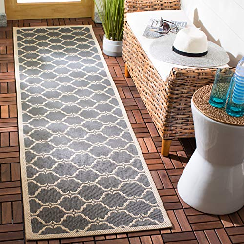 Safavieh Courtyard Collection CY6009-246 Anthracite and Beige Indoor/ Outdoor Runner (2'3