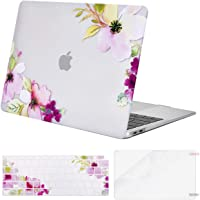 MOSISO MacBook Air 13 Inch Case 2019 2018 Release A1932 with Retina Display,Plastic Pattern Hard Shell & Keyboard Cover & Screen Protector Only Compatible MacBook Air 13,Clear Base Peachblossom