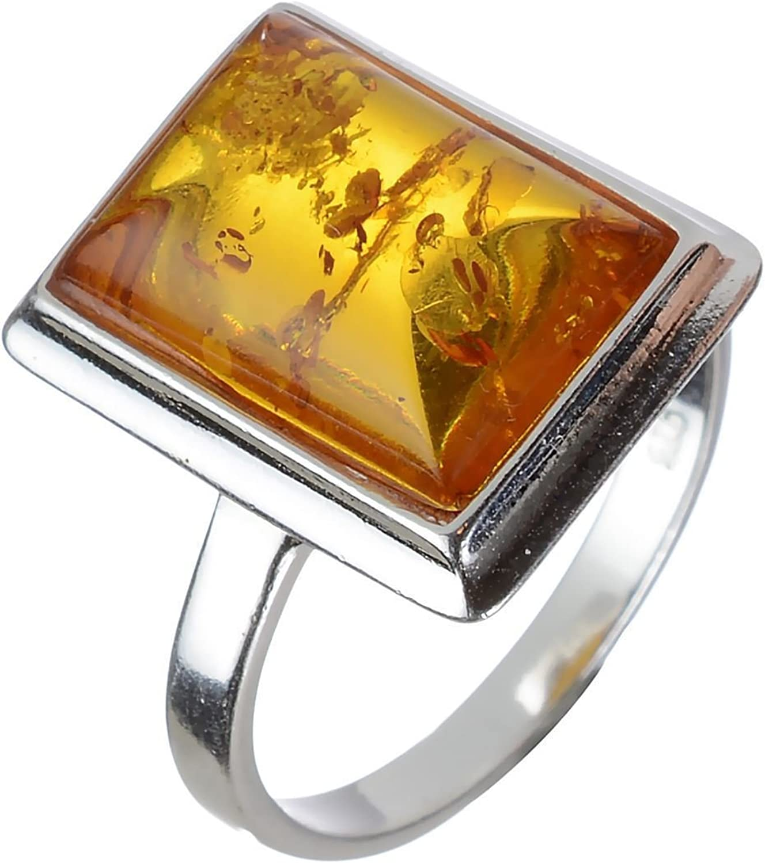 Argent Sterling et Baltique Miel Rectangle Amber Ring