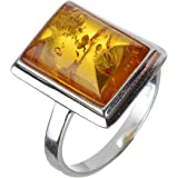 HolidayGiftShops Sterling Silver and Baltic Honey Rectangle Amber Ring