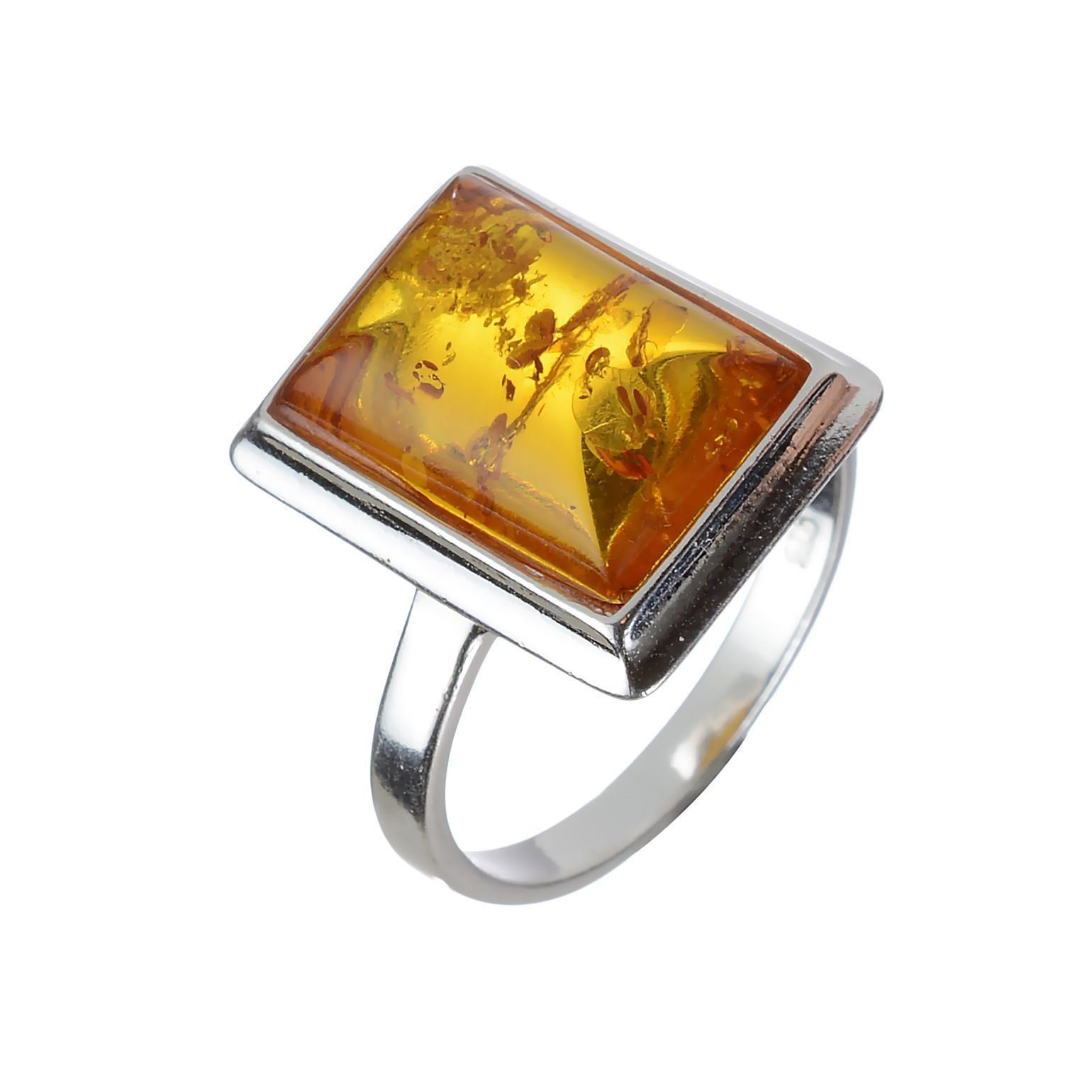 HolidayGiftShops Sterling Silver and Baltic Honey Rectangle Amber Ring size: 6.5
