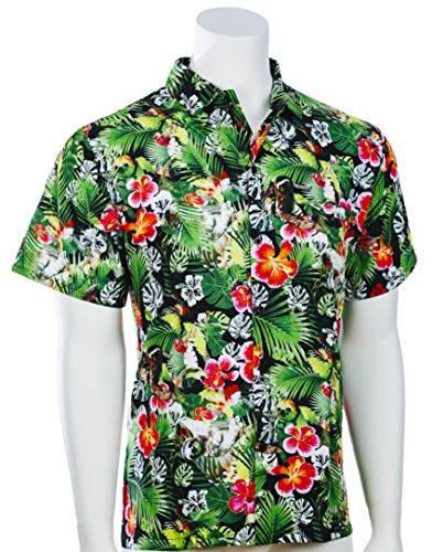 Funny Guy Mugs Men's Sloth Hawaiian Print Button Down Short Sleeve Shirt, Small