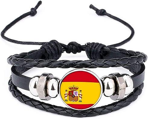 mxdmai 2018 España Bandera Nacional Encanto de la Pulsera de los brazaletes de Cuero Trenzado, Banderas de fútbol del Equipo Muñequera Banda a Mano Pulsera: Amazon.es: Joyería