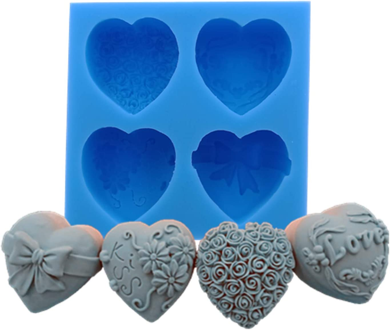 4 Cavities Heart Flower Silicone Soap Mold Food Grade Chocolate Cake Jelly Ice Silicone Molds Scented Candle Wax Mould Gypsum Crafts Silicone Moulds