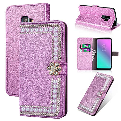 Gaxaly s9 Case Glitter Kickstand Compatible with Samsung Galaxy 9s Cover Girls Diamond Samsum Glaxay 9 Bumper Luxury ss9 Protective Skin 5.8 inch with Credit Card Holder ID Slot FILP Cases (Purple) ()