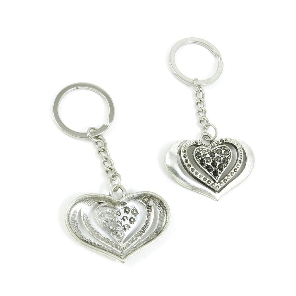 100 Pieces Keychain Door Car Key Chain Tags Keyring Ring Chain Keychain Supplies Antique Silver Tone Wholesale Bulk Lots Y3AR9 Love Heart
