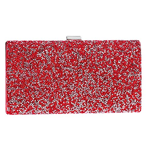 Gold Evening Bags Ladies Wedding Clutches Womens PU Wallet Bags Dress Chain for Purses Red qq7TSw