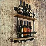 XIAOLI& pipe modeling wine rack wall Bar wine rack Wine bottle storage rack vintage industrial style wall Upper shelf
