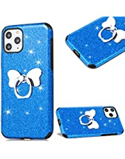 """Cestor Glitter Case for iPhone 12/12 Pro 6.1"""",Stylish Bling Sparkles Soft TPU Rubber Shockproof Protective Case with Bowknot Stand Ring Holder,Blue"""