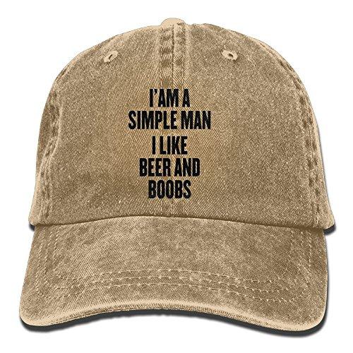 I'm A Simple Man I Like Beer and Boobs Adjustable Washed Cap Cowboy Baseball Hat Natural