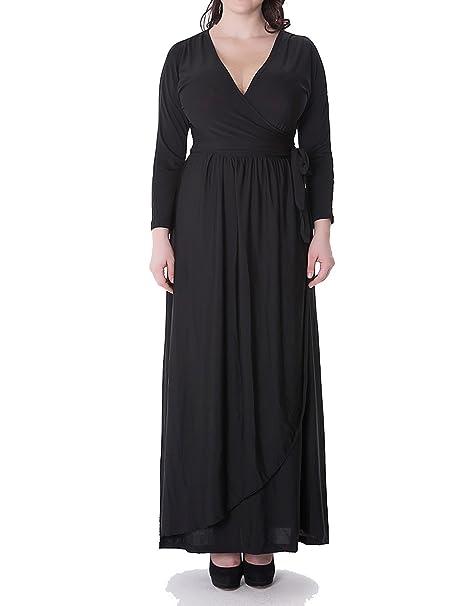 Mujeres Plus Size Color Puro Cuello en V Largo Vestido Maxi Vestidos de Fiesta Negro 3XL