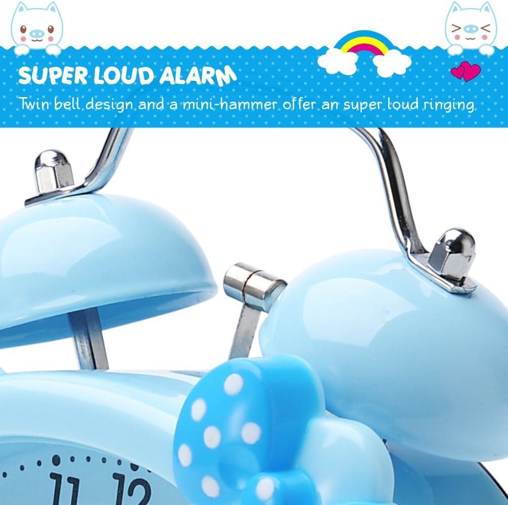 in Handgr/ö/ße Plumeet Doppelglockenwecker f/ür Kinder batteriebetrieben niedlich Blau Hintergrundbeleuchtung Lautloser Cartoon Quarz-Wecker f/ür M/ädchen