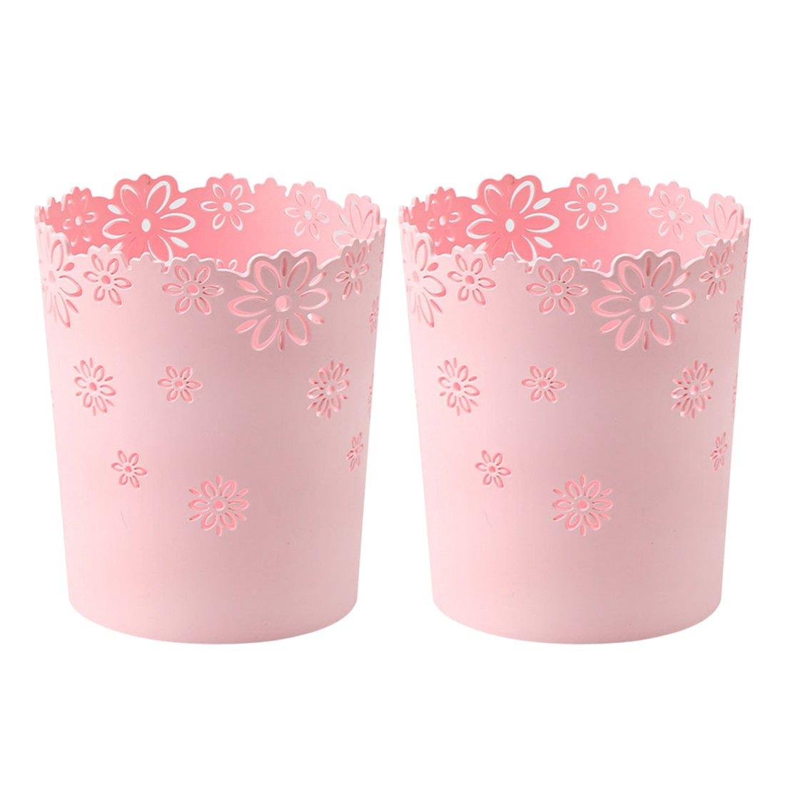 Waste Paper Baskets, XSHION Trash Can Garbage Bin Plastic without Lid for Bedroom /Kitchen /Bathroom /Office /Desktop (Pink 2 Pack)