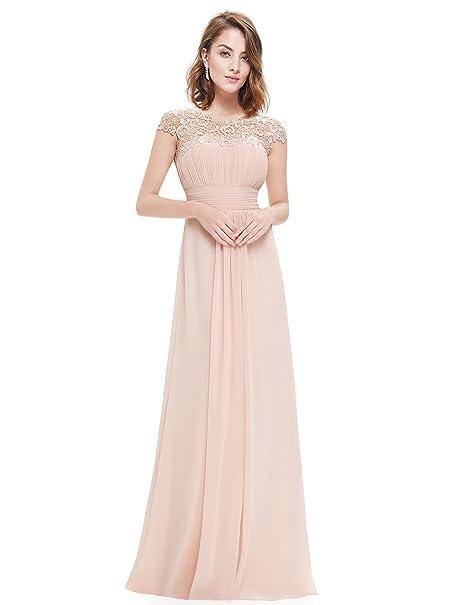 9a08e1c9f0e3 Ever-Pretty Vestito da Sera Donna Lungo in Chiffon Maniche Corte Impero in  Pizzo 09993  Amazon.it  Abbigliamento