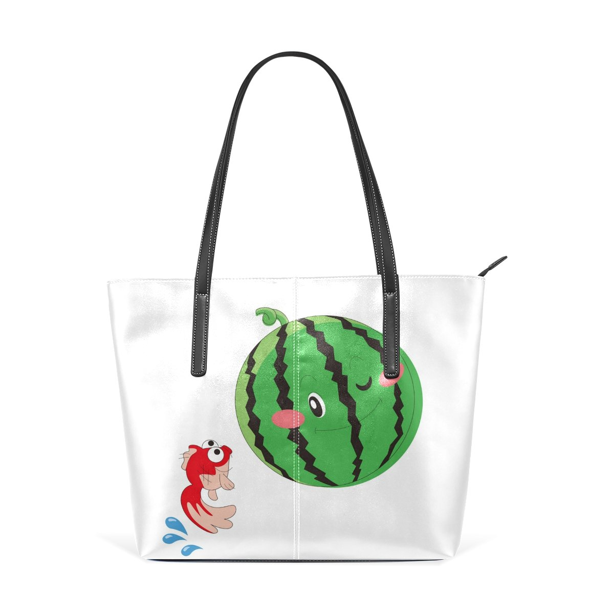 Women Leather Handbags Fish Watermelon Top Handle Shoulder Bags