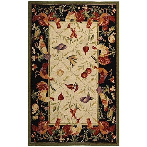 Safavieh Chelsea Collection HK94A Hand-Hooked Ivory and Black Premium Wool Area Rug (3'9