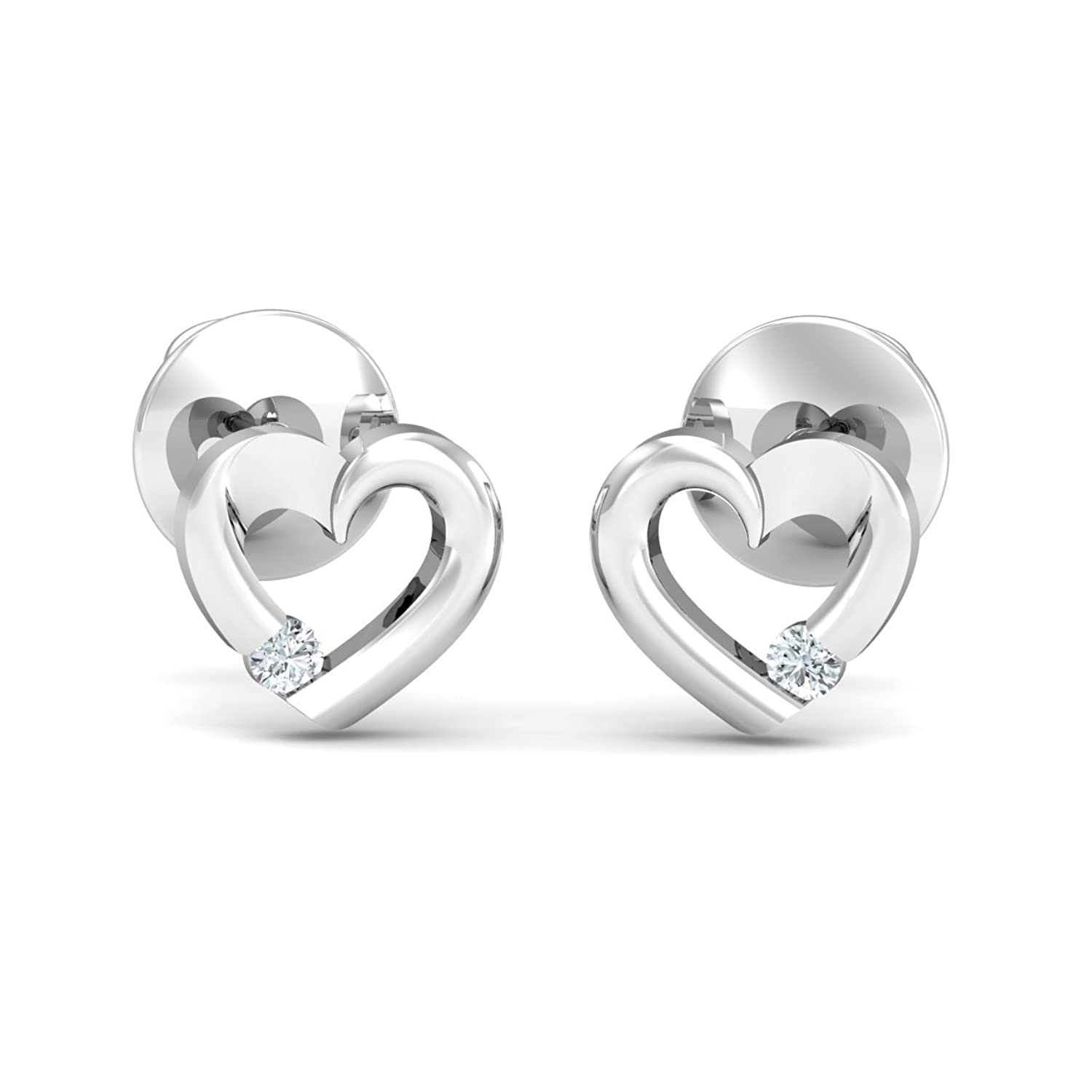 Buy KuberBox Oro 14k White Gold and Diamond Stud Earrings line at