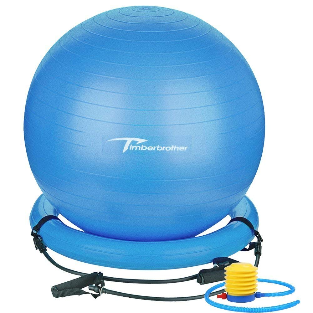 Timberbrother Anti-Burst Exercise Ball/Stability Ball 65cm Diameter with Resistance Bands & Pump for Yoga, Pilates, Fitness, Physical Therapy, Gym and Home Exercise (Blue with Ring & Bands)