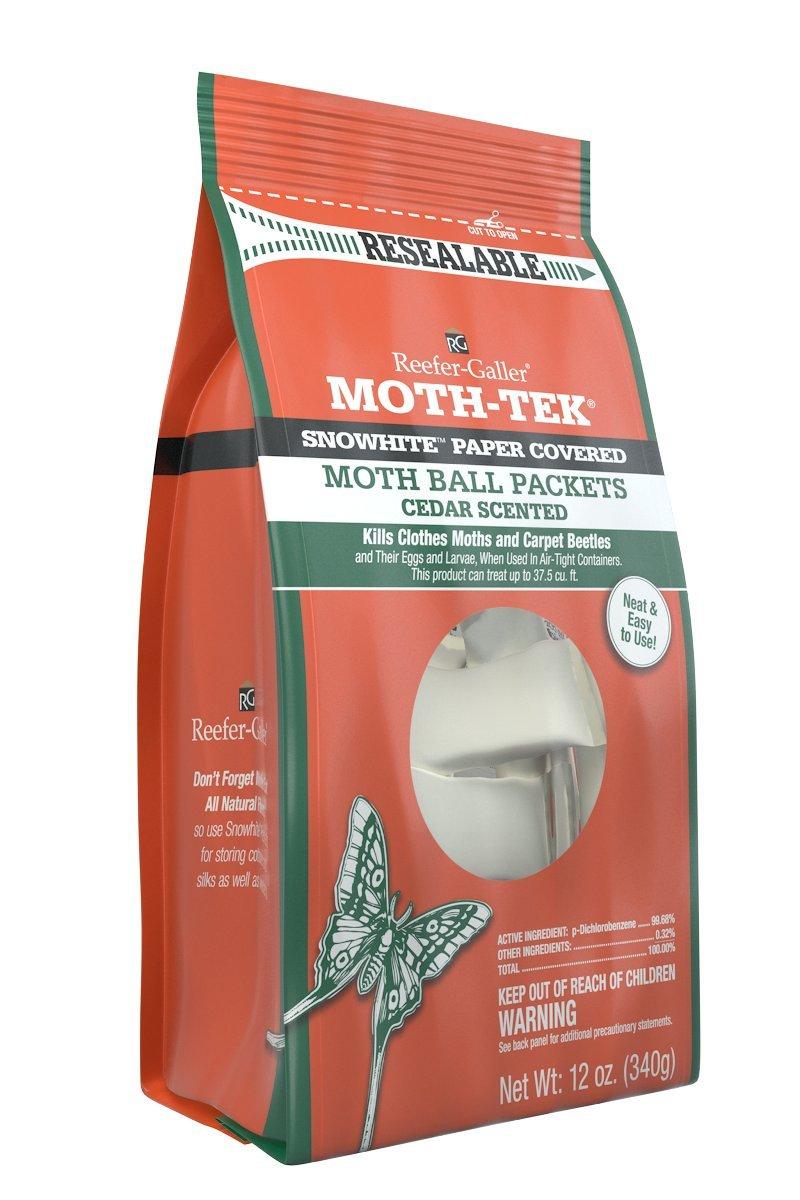 Reefer-Galler Moth-Tek Snowhite Cedar Scented Moth Ball Packets, 12 oz (6)