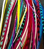 New 21pcs Kit. Feather hair extensions. 10 Real 100% Genuine Feathers. Hook tool and multi colored beads included. Feathers are multi colored grizzly and solid rooster 6-11