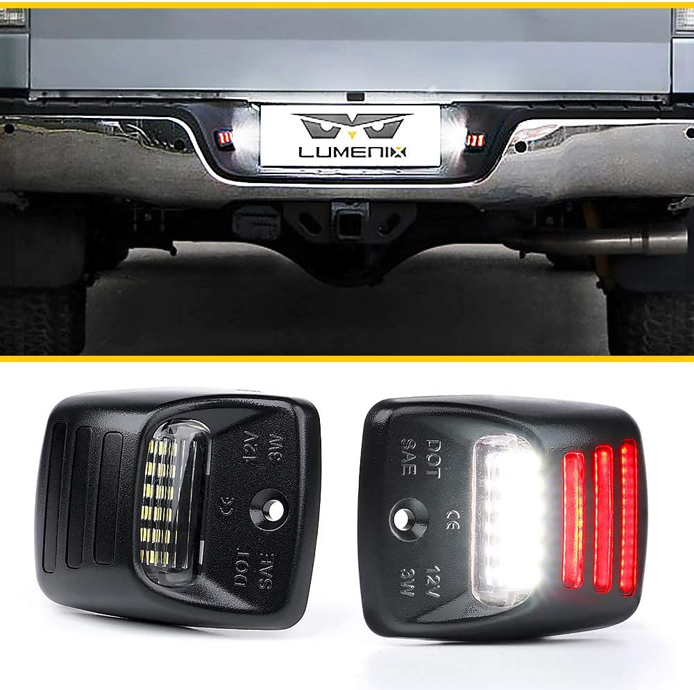 2-Pack Replacement White Lamp Tag Lights with OLED Red Neon Tube Compatible with Toyota Tacoma 2005-2015 /& Tundra 2000-2013 Trucks Pickup Lumenix LED License Plate light Assembly