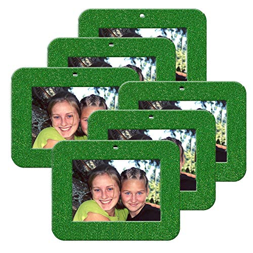 Mini Magnetic Glitter Christmas Photo Frame Ornaments for Holiday Picture Frame Gifts and Tree Decoration - 6-Pack, Horizontal - Green