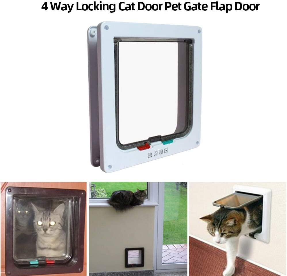 Gateras Para Puertas Perros Features: You can easily install it in windows, doors, cupboards etc. Made of ABS plastic, the surface with brushTransparent flap allow your pet to see the outside S